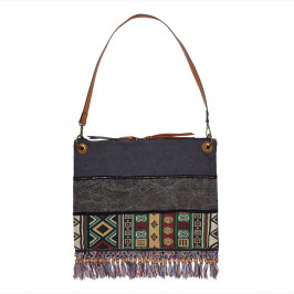 C.L TRADING ETHNIC PRINT SHOPPER BAG WITH TASSELS - Plus Size Collection