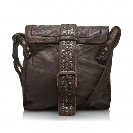 C.L. BROWN DISTRESSED LEATHER SHOULDER BAG - Plus Size Collection