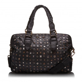 C.L. METAL STUDDED Black LEATHER BAG - Plus Size Collection