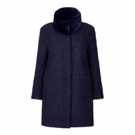 GAIA NAVY TWEED JACKET with LUREX THREAD & DETACHABLE FUR COLLAR - Plus Size Collection