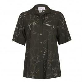 CHALOU dark green devore SHIRT - Plus Size Collection