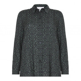 CHALOU black and emerald print SHIRT - Plus Size Collection