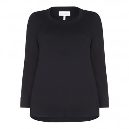 CHALOU black jersey long sleeve TOP - Plus Size Collection