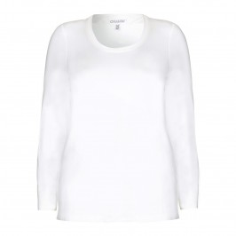 CHALOU long sleeve white jersey TOP - Plus Size Collection