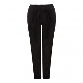CHALOU black crushed linen TROUSERS - Plus Size Collection