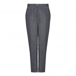 CHALOU grey crushed linen TROUSERS - Plus Size Collection
