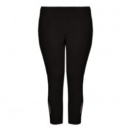 CHALOU black embellished-ankle Cropped Trousers - Plus Size Collection