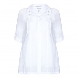 CHALOU white crushed linen twinset - Plus Size Collection