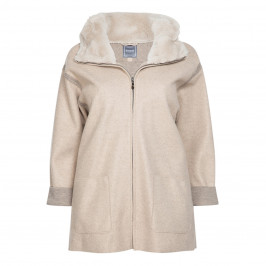 CHANGE FLEECE WITH FAUX FUR HOOD - Plus Size Collection
