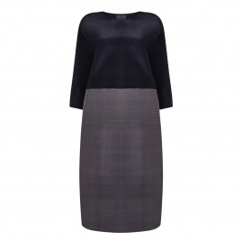 PERSONA navy colour block DRESS with fine pleats - Plus Size Collection