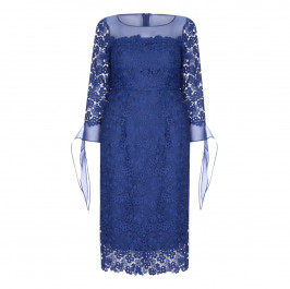 MARINA RINALDI blue LACE DRESS WITH CHIFFON CUFF - Plus Size Collection
