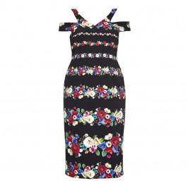 MARINA RINALDI FLORAL PRINT TAILORED COLD SHOULDER DRESS - Plus Size Collection