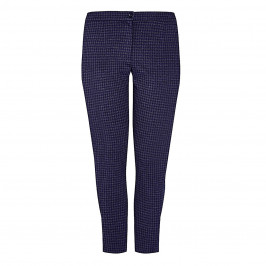 LUISA VIOLA HOUNDSTOOTH TROURSER NAVY AND GREY - Plus Size Collection