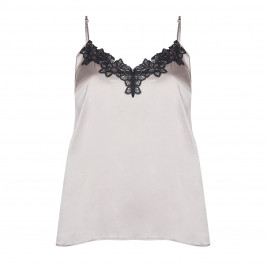 ELENA MIRO SATIN CAMI - OYSTER AND BLACK  - Plus Size Collection