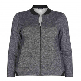 ELENA MIRO GREY BOMBER STYLE LUREX CARDIGAN WITH BLACK DETAIL - Plus Size Collection