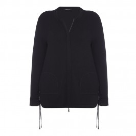 ELENA MIRO BLACK CARDIGAN WITH CRISS-CROSS DETAIL - Plus Size Collection