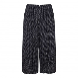ELENA MIRO PRINT BLACK SPOTTY CREPE CULOTTES WITH WIDE PLEATS  - Plus Size Collection