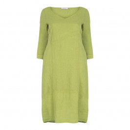 ELENA MIRO LINEN DRESS LIME - Plus Size Collection