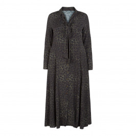 ELENA MIRO LEOPARD PRINT DRESS OLIVE - Plus Size Collection