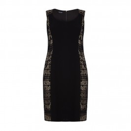ELENA MIRO lace panel black DRESS with optional sleeves - Plus Size Collection