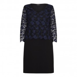 ELENA MIRO NAVY & BLACK MACRAME LACE DRESS - Plus Size Collection