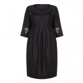 ELENA MIRO black linen cutwork DRESS - Plus Size Collection