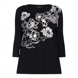 ELENA MIRO black floral metallic print TOP - Plus Size Collection