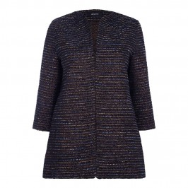 ELENA MIRO CINNAMON & NAVY TEXTURED JACKET - Plus Size Collection