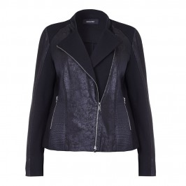ELENA MIRO LEATHER LOOK MULTI TEXTURE BIKER JACKET - Plus Size Collection