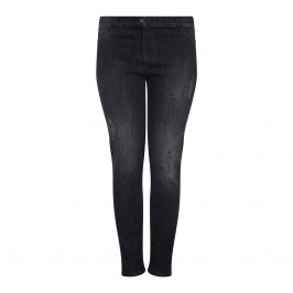 ELENA MIRO black distressed embellished narrow leg JEANS - Plus Size Collection