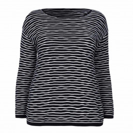 ELENA MIRO KNITTED wavy stripes black TUNIC - Plus Size Collection
