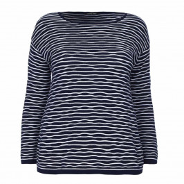 ELENA MIRO KNITTED wavy stripes navy TUNIC - Plus Size Collection