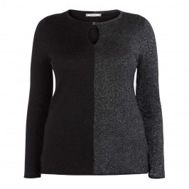 ELENA MIRO BLACK AND LUREX SWEATER - Plus Size Collection