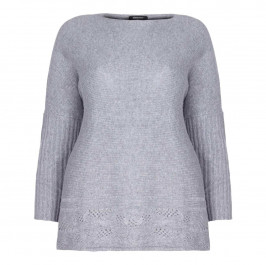 ELENA MIRO GREY CABLE KNIT lacey HEM TUNIC  - Plus Size Collection