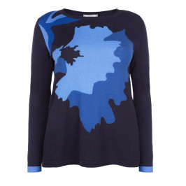 ELENA MIRO BLUE ABSTRACT PRINT SWEATER - Plus Size Collection
