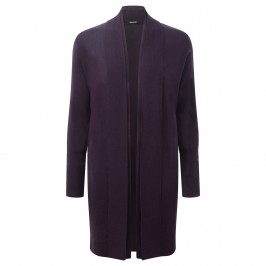 ELENA MIRO AUBERGINE WOOL BLEND Long Cardigan - Plus Size Collection