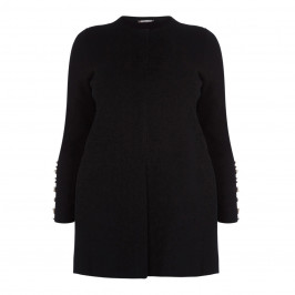 ELENA MIRO LONG BLACK PEARL EMBELLISHED CARDIGAN - Plus Size Collection