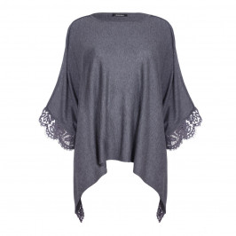 ELENA MIRO GREY KNITTED PONCHO WITH LACE HEM - Plus Size Collection