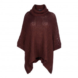 ELENA MIRO KNITTED PONCHO RUST - Plus Size Collection