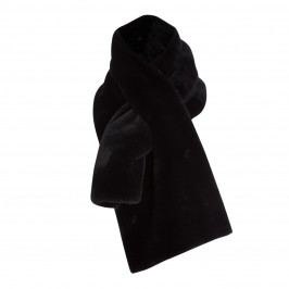 ELENA MIRO WIDE BLACK FAUX-FUR SCARF - Plus Size Collection