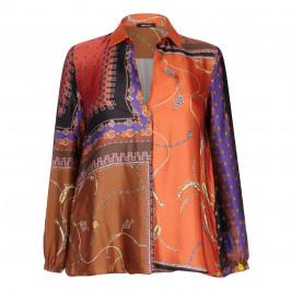 ELENA MIRO SCARF PRINT SHIRT - Plus Size Collection