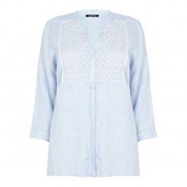 ELENA MIRO smocked linen pinstripe SHIRT - Plus Size Collection