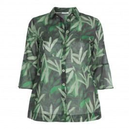ELENA MIRO LEAF PRINT COTTON SHIRT  - Plus Size Collection