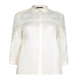 Elena MIRO linen and lace ivory SHIRT - Plus Size Collection