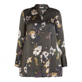 ELENA MIRO OLIVE FLORAL PRINT SHIRT - Plus Size Collection