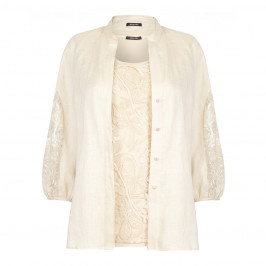 ELENA MIRO PURE LINEN LACE  SHIRT AND VEST - Plus Size Collection