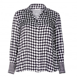 ELENA MIRO SATIN SHIRT BLACK AND WHITE PRINT - Plus Size Collection