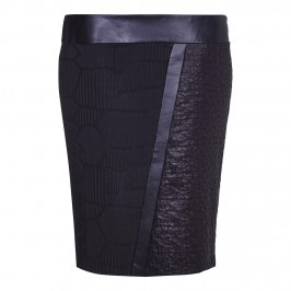 ELENA MIRO MULTI TEXTURE LEATHER LOOK DETAIL SKIRT - Plus Size Collection