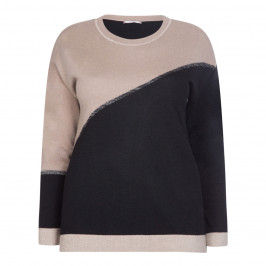 ELENA MIRO INTARSIA SWEATER BEIGE AND BLACK - Plus Size Collection