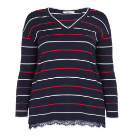 ELENA MIRO STRIPE SWEATER WITH LACE TRIM - Plus Size Collection